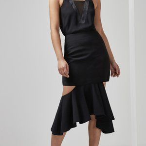 C/MEO COLLECTIVE ENFOLD CUT OUT SKIRT
